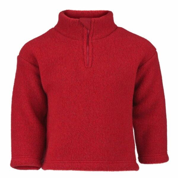 Pulover cu fermoar red melange din lână merinos organică fleece pentru copii - Engel