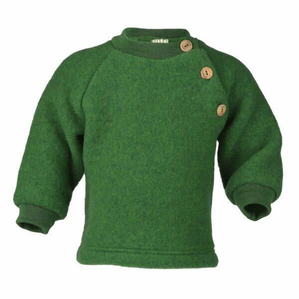Pulover green melange din lână merinos organică fleece pentru copii - Engel