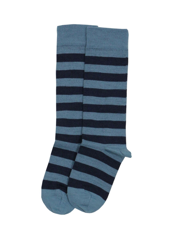 Şosete fine din lână şi bumbac organic albastru cu dungi Grodo