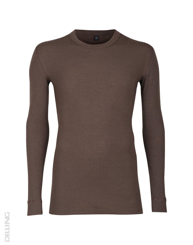 Bluză cu mânecă lungă ciocolată din lână merinos organică rib pentru bărbaţi Dilling 2