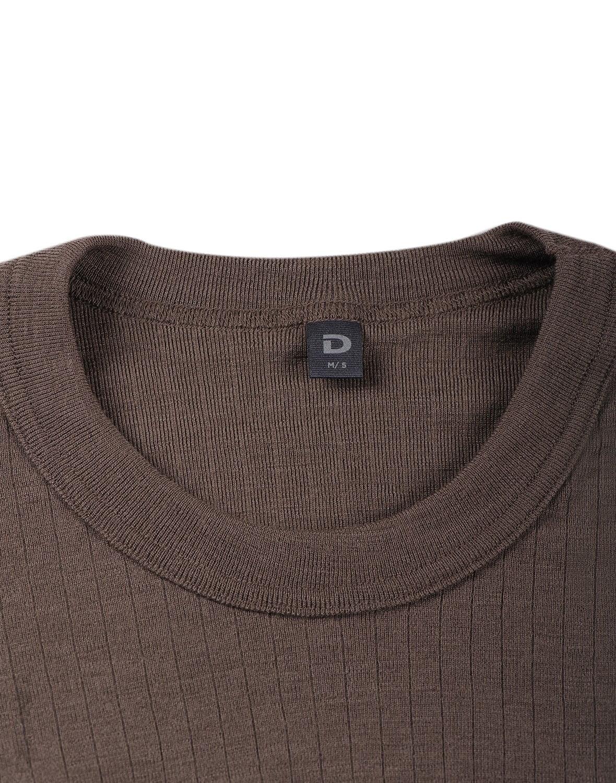 Bluză cu mânecă lungă ciocolată din lână merinos organică rib pentru bărbaţi Dilling