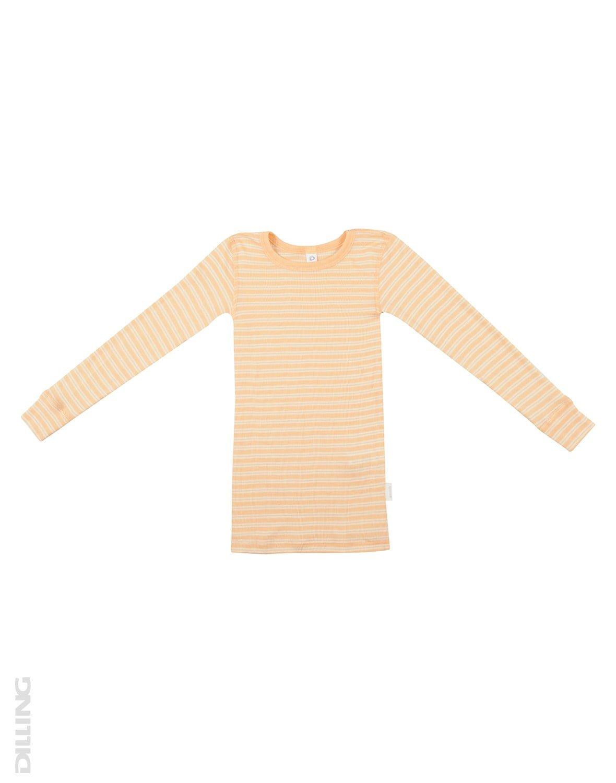 Bluză cu mânecă lungă cu dungi portocalii natur din lână merinos şi mătase organică pentru copii Dilling 1