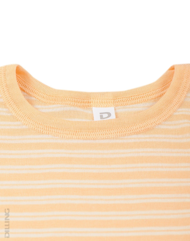 Bluză cu mânecă lungă cu dungi portocalii natur din lână merinos şi mătase organică pentru copii Dilling
