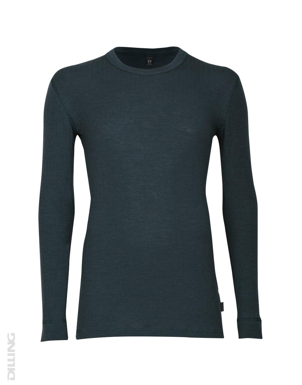 Bluză cu mânecă lungă petrol din lână merinos organică rib pentru bărbaţi Dilling