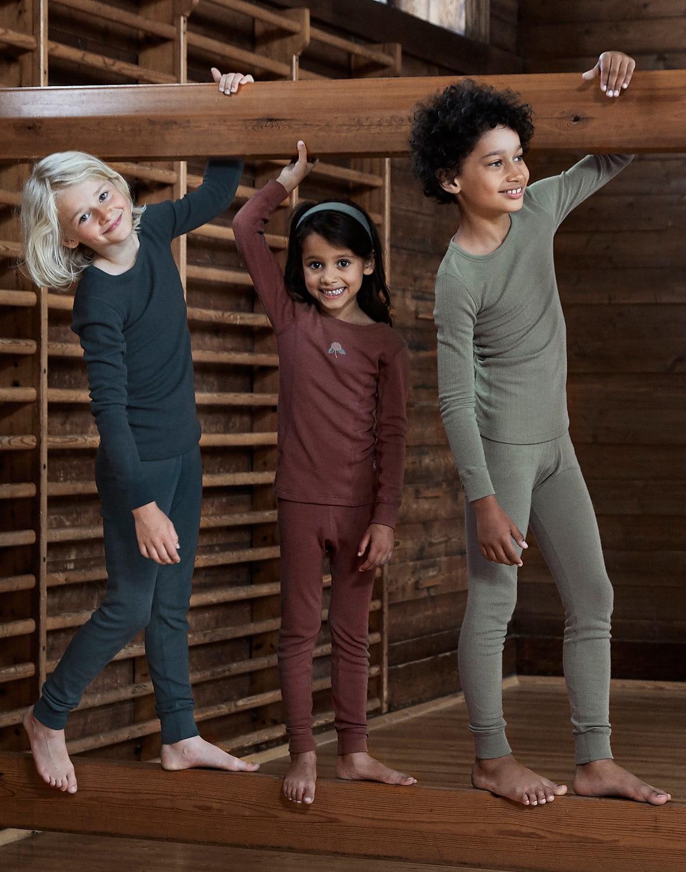 Bluză cu mânecă lungă petrol din lână merinos organică rib pentru copii Dilling 1