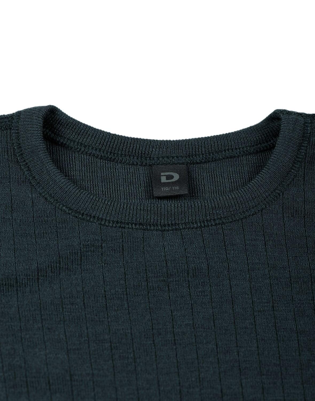 Bluză cu mânecă lungă petrol din lână merinos organică rib pentru copii Dilling 2