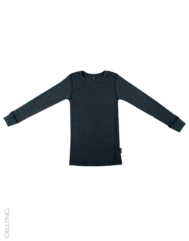 Bluză cu mânecă lungă petrol din lână merinos organică rib pentru copii Dilling