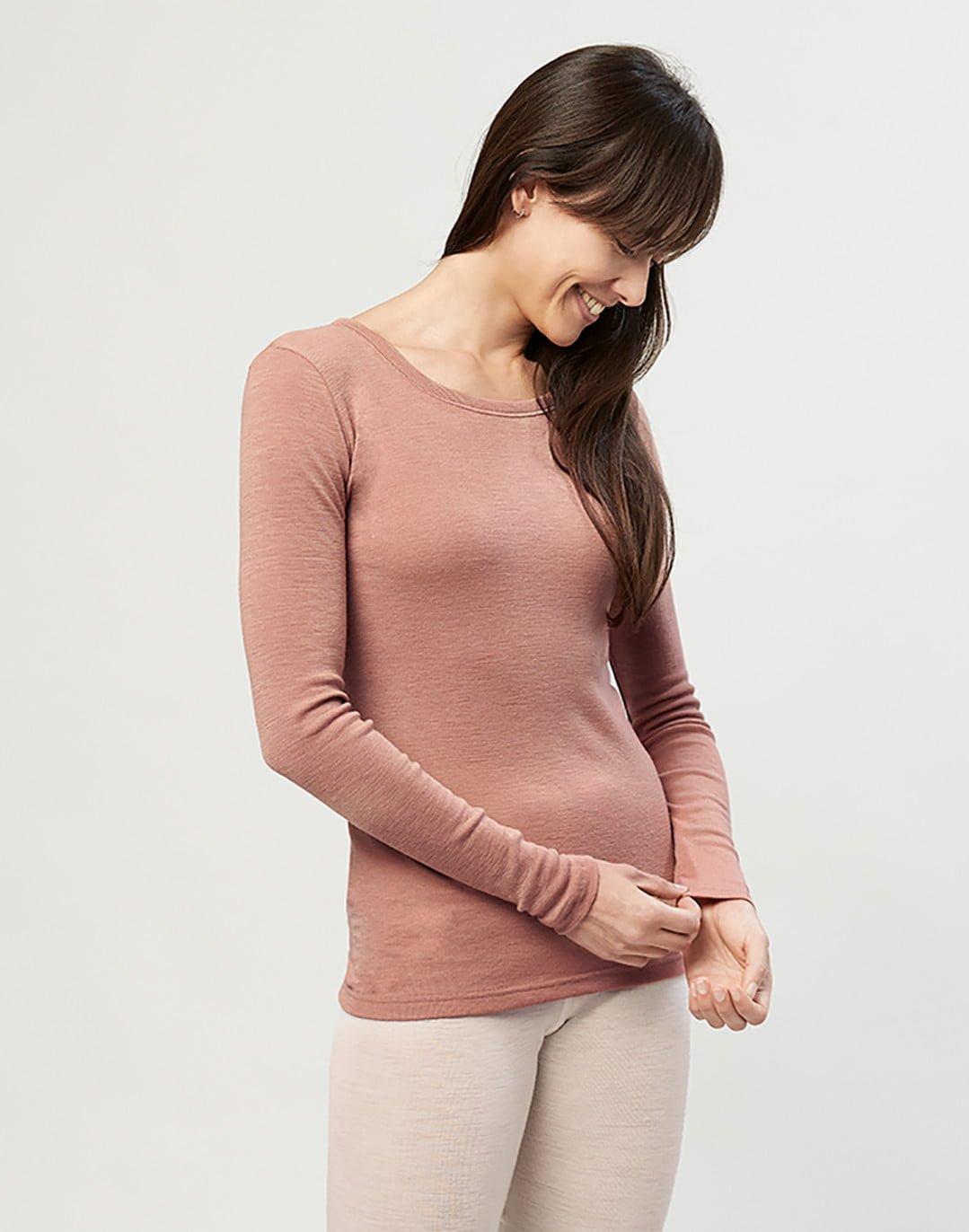 Bluză cu mânecă lungă roz din lână merinos organică pentru femei Dilling 3