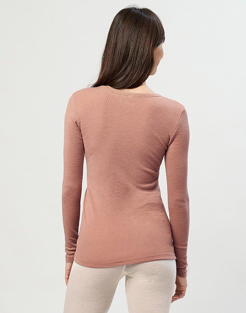 Bluză cu mânecă lungă roz din lână merinos organică pentru femei Dilling 4
