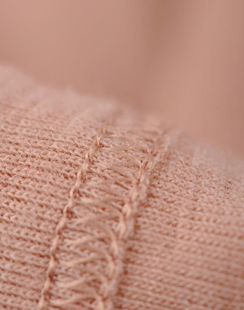 Bluză cu mânecă lungă roz din lână merinos organică pentru femei Dilling 5