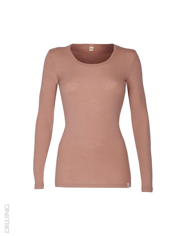 Bluză cu mânecă lungă roz pudrat din lână merinos organică pentru femei Dilling