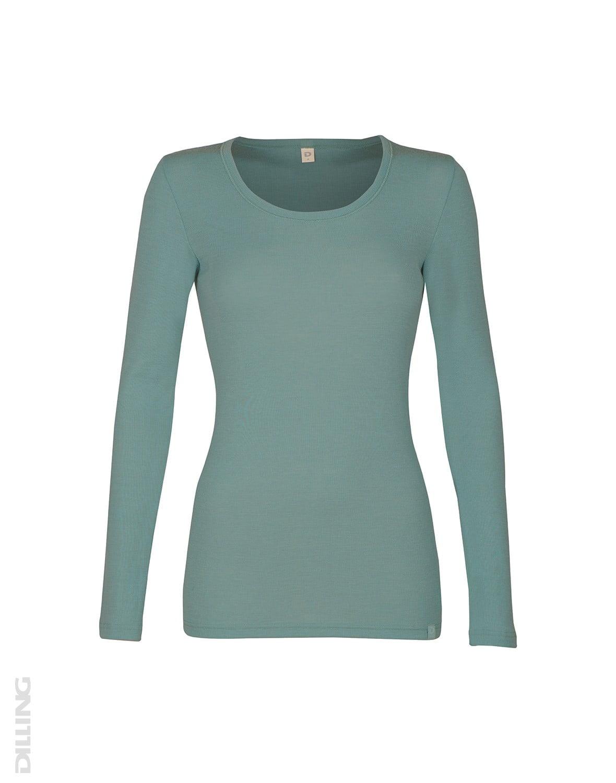 Bluză cu mânecă lungă verde pudrat din lână merinos organică pentru femei Dilling 1