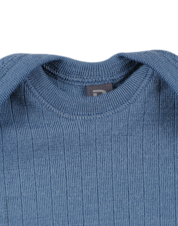 Body cu mânecă lungă albastru din lână merinos organică rib pentru bebeluși Dilling 1