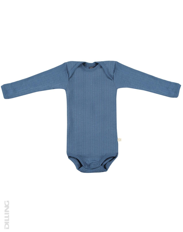 Body cu mânecă lungă albastru din lână merinos organică rib pentru bebeluși Dilling