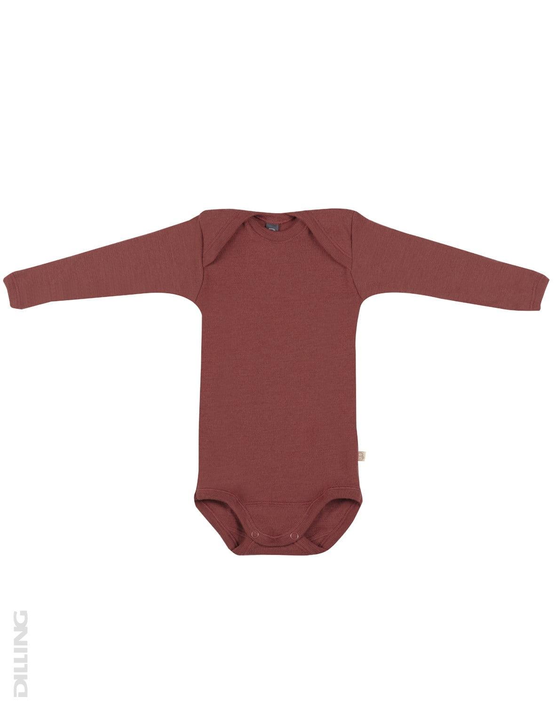 Body cu mânecă lungă cărămiziu din lână merinos organică rib pentru bebeluși Dilling
