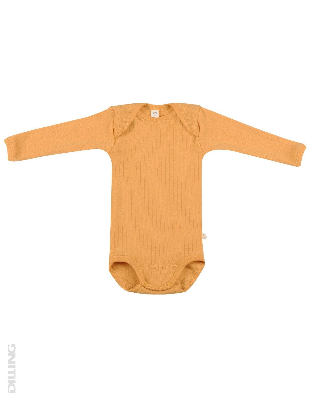 Body cu mânecă lungă galben din lână merinos organică rib pentru bebeluși Dilling