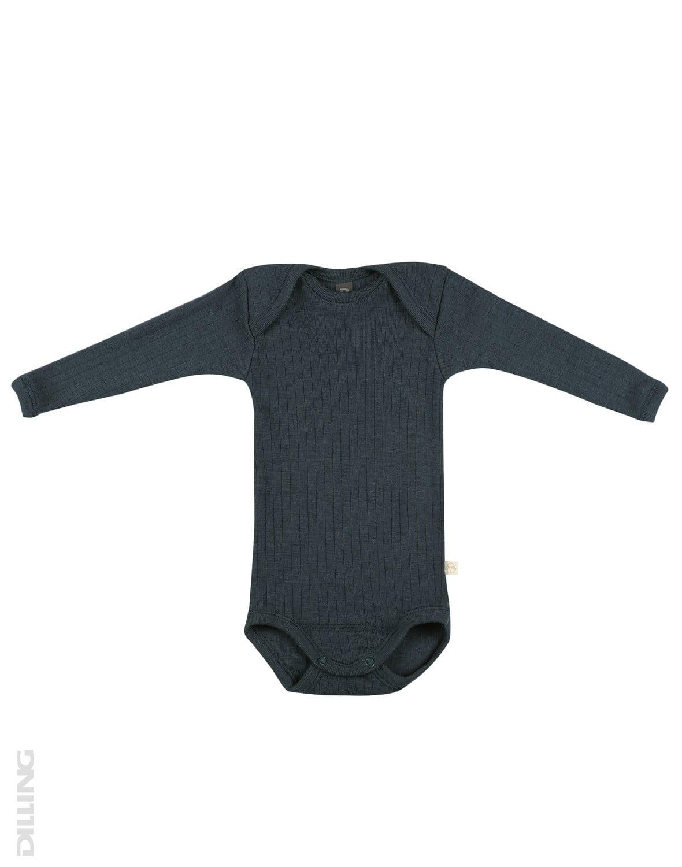 Body cu mânecă lungă petrol din lână merinos organică rib pentru bebeluși Dilling