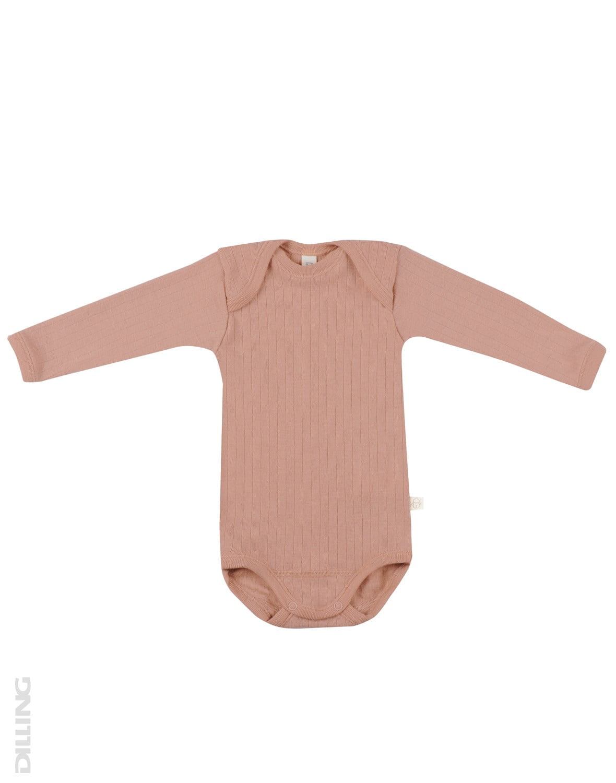 Body cu mânecă lungă roz din lână merinos organică rib pentru bebeluși Dilling