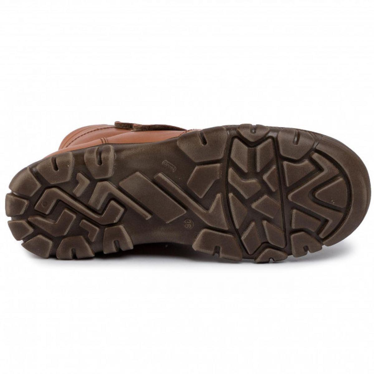 Cizme din piele căptuşite cu blană de miel închidere cu dublu velcro şi talpă extra flexibilă Froddo Light Brown