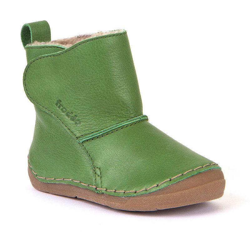 Cizme din piele căptuşite cu blană de miel şi închidere laterală cu velcro şi talpă extra flexibilă Froddo Green