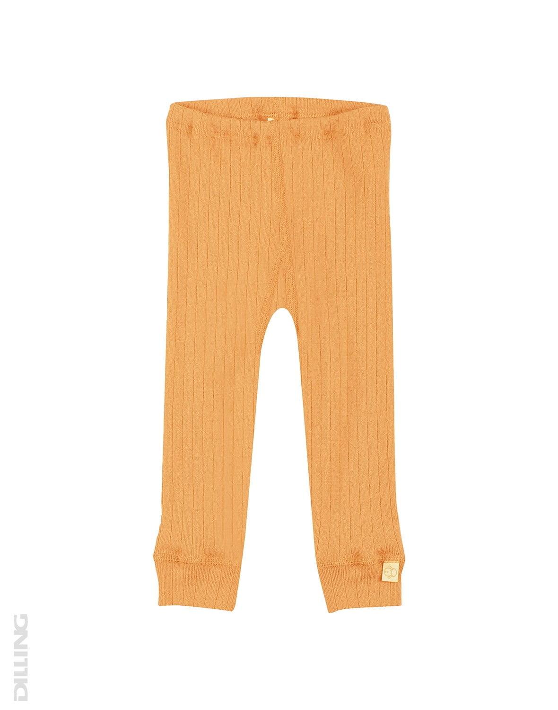 Pantaloni colanţi galbeni din lână merinos organică rib pentru bebeluşi Dilling