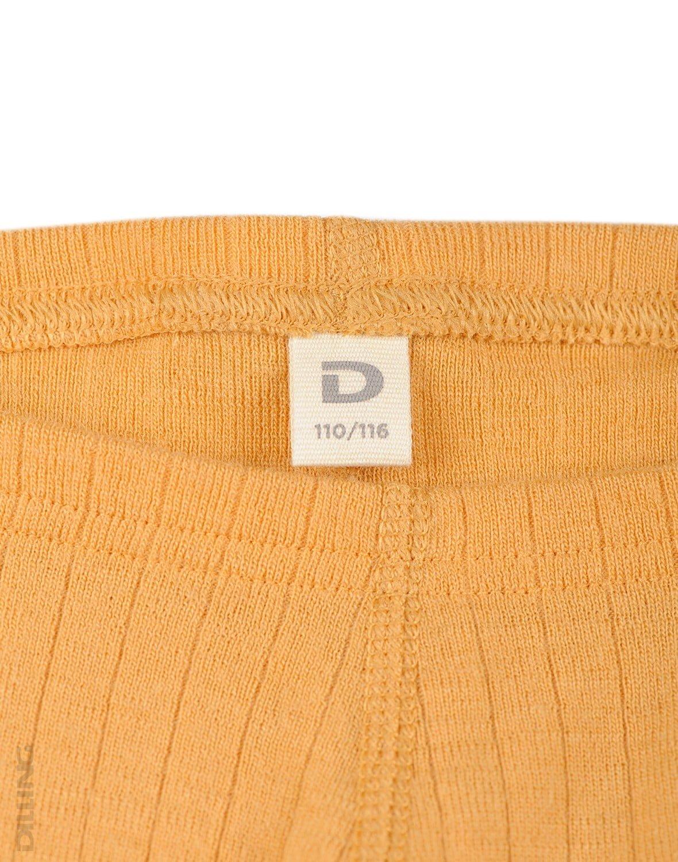 Pantaloni colanţi galbeni din lână merinos organică rib pentru copii Dilling 1