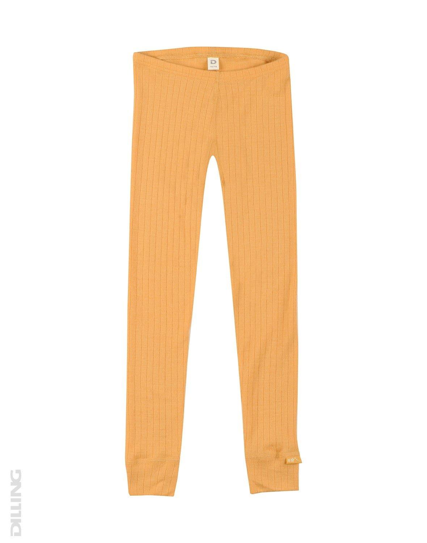 Pantaloni colanţi galbeni din lână merinos organică rib pentru copii Dilling