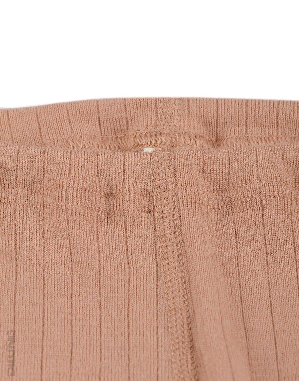 Pantaloni colanţi roz pudrat din lână merinos organică rib pentru bebeluşi Dilling 1
