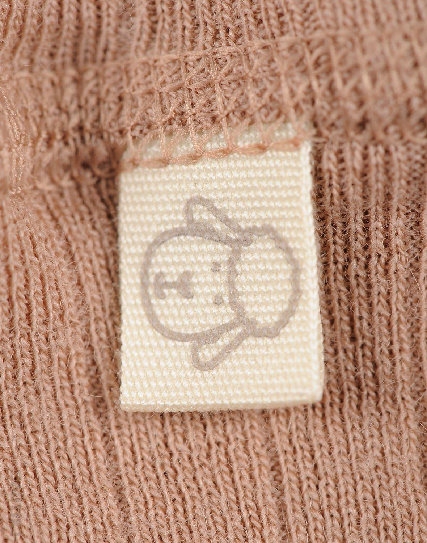 Pantaloni colanţi roz pudrat din lână merinos organică rib pentru bebeluşi Dilling 2
