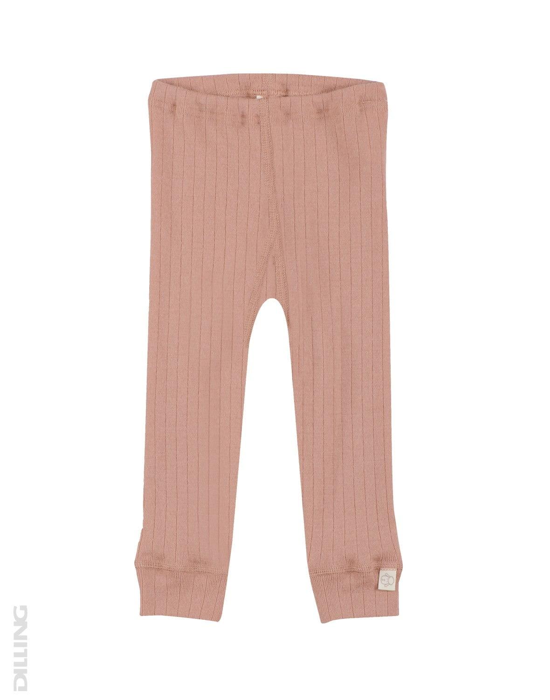 Pantaloni colanţi roz pudrat din lână merinos organică rib pentru bebeluşi Dilling