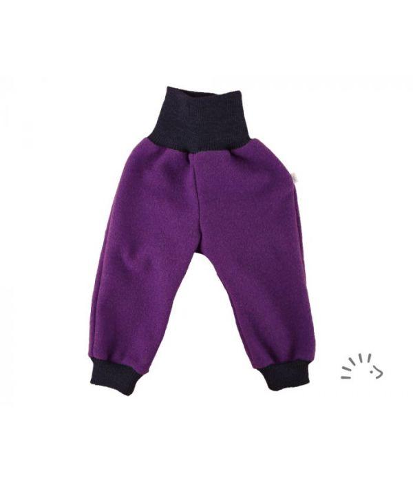 Pantaloni din lână merinos boiled wool plum Iobio Popolini