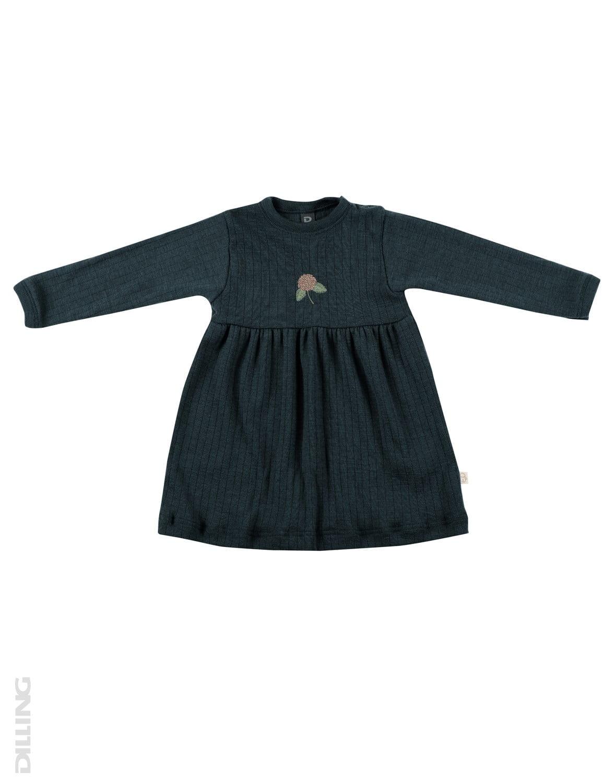 Rochie petrol din lână merinos organică pentru fetiţe Dilling