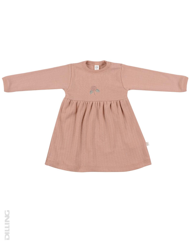 Rochie roz pudrat din lână merinos organică pentru fetiţe Dilling
