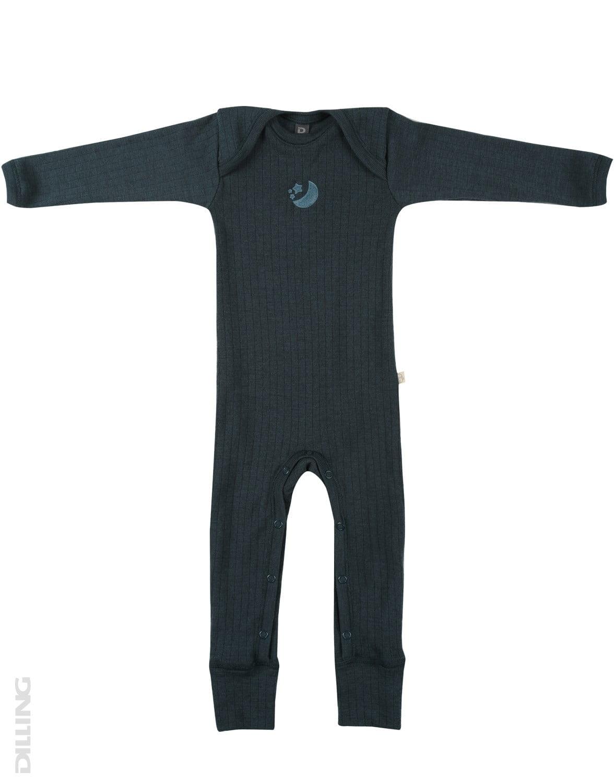 Salopetă – pijama overall petrol din lână merinos organică rib pentru bebeluși Dilling