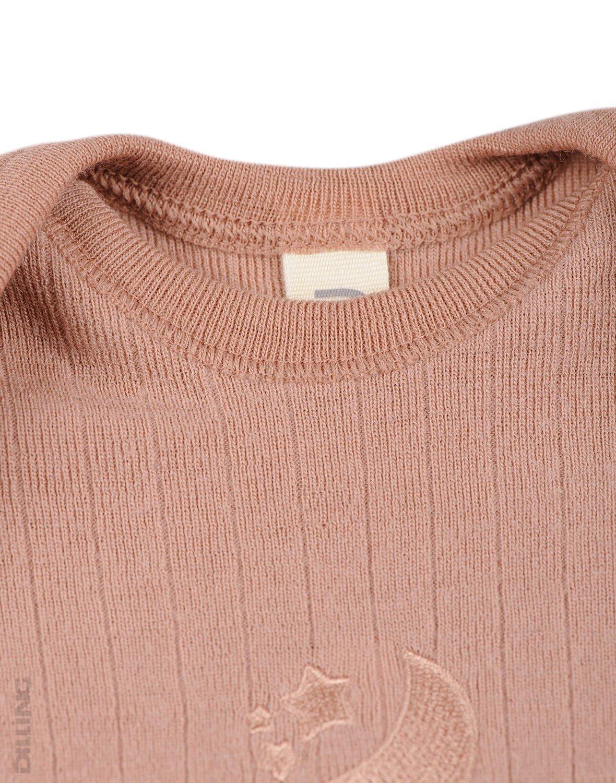 Salopetă – pijama overall roz pudrat din lână merinos organică rib pentru bebeluși Dilling 1