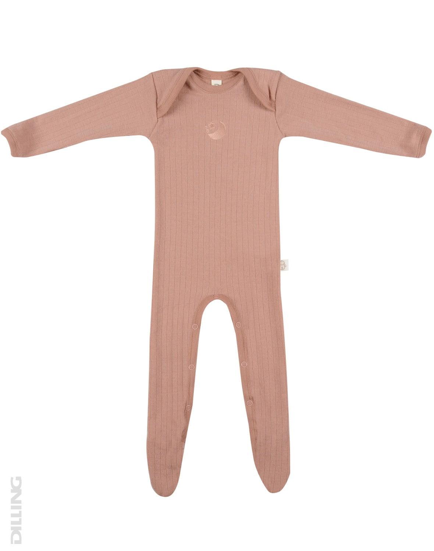 Salopetă – pijama overall roz pudrat din lână merinos organică rib pentru bebeluși Dilling
