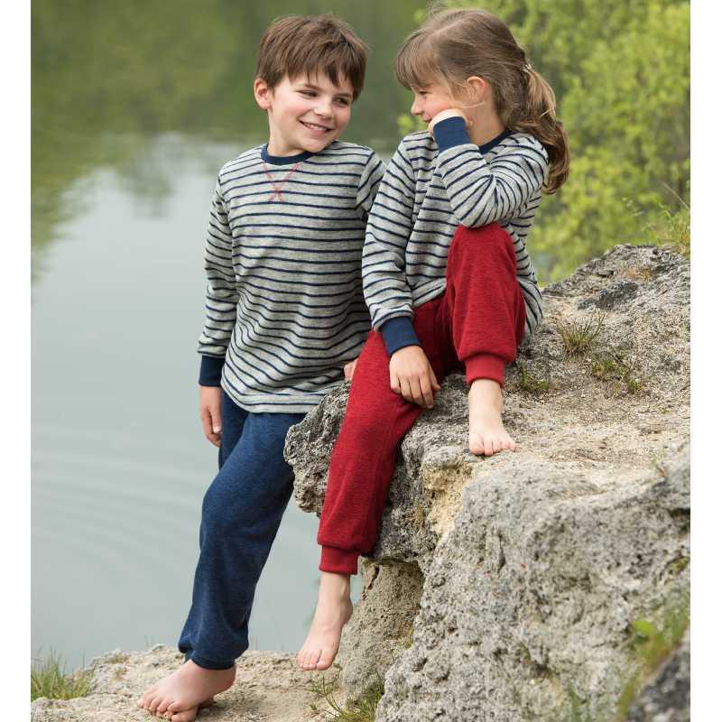 Pantaloni light ocean din lână merinos terry pentru copii Engel
