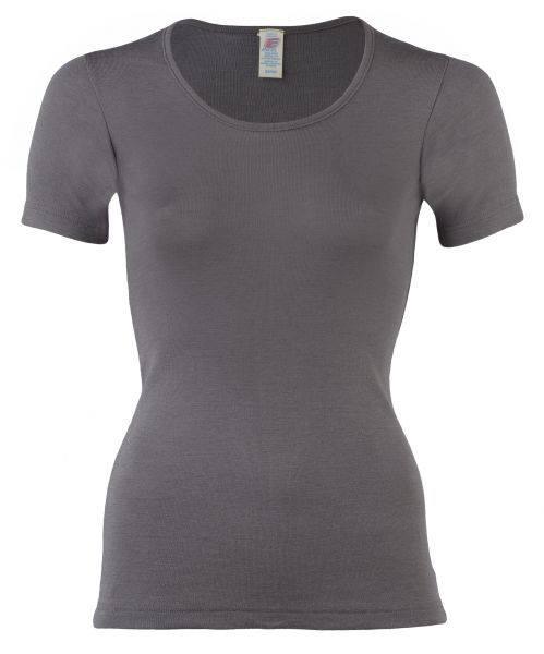 Tricou taupe din lână merinos şi mătase organică pentru femei - Engel