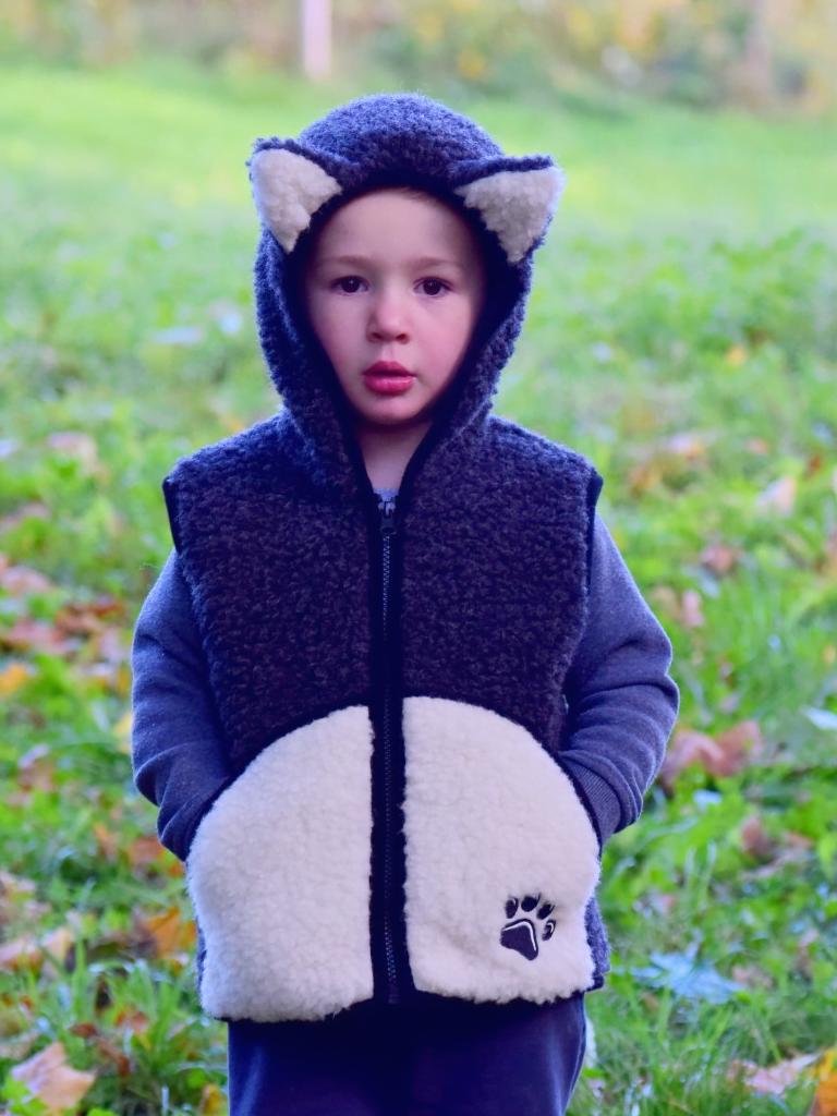 Vestă copii din lână merinos cu model animale pisică - Kitty Alwero