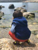 Vestă copii cu glugă din lână merinos deep blue Robby Alwero