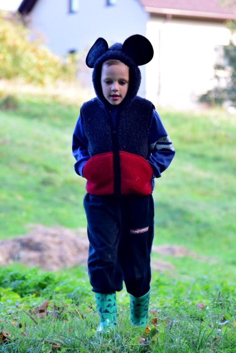 Vestă copii din lână merinos cu model animale şoricel - Mickey Mouse Alwero