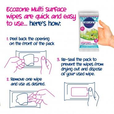 Șervețele umede antibacteriene pentru curățare multisuprafețe cu aloe vera și castravete 40 buc Ecozone 2