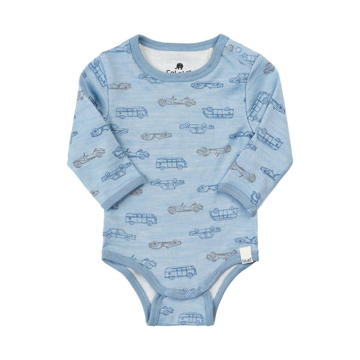 Body cu maneca lunga din lana merinos dusty blue CeLaVi