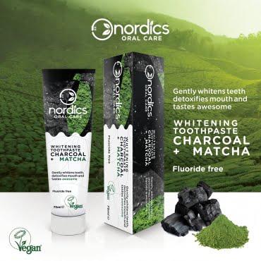 Pastă de dinți neagră cu cărbune activ și ceai verde Matcha pentru albirea dinților 75 ml Nordics 3