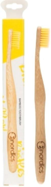 Periuță de dinți pentru adulți din bambus galbenă Nordics