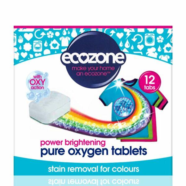 Tablete pe bază de oxigen activ pentru strălucirea hainelor colorate și îndepărtarea petelor rufe colorate 12 bucăți Ecozone