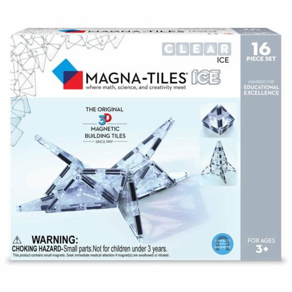 Magna-Tiles Set 16 piese magnetice de construcție transparente ICE
