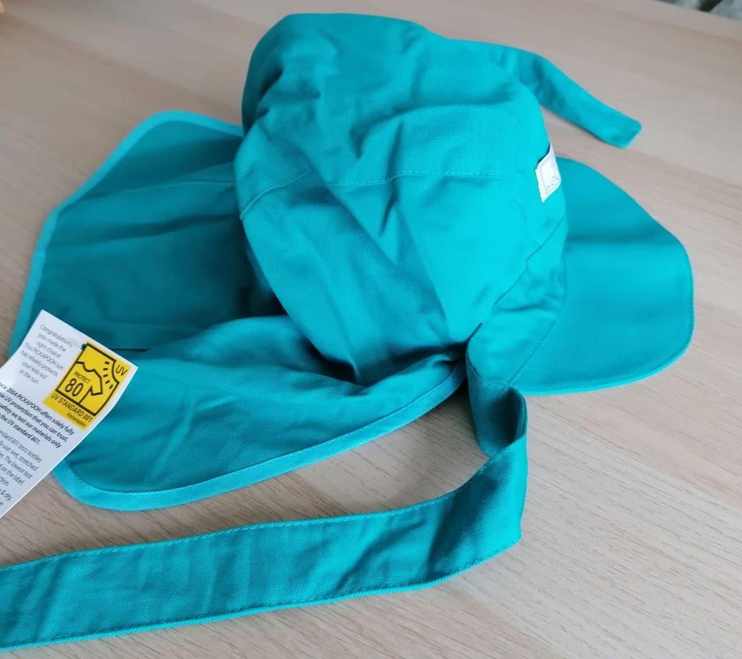 Pălărie de soare din bumbac organic model cu bandă turcoaz Pickapooh 2