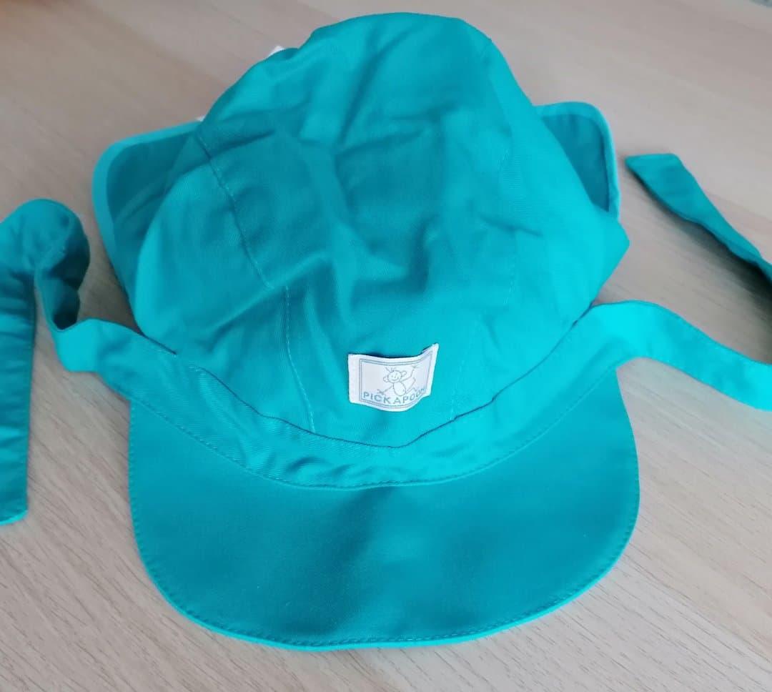 Pălărie de soare din bumbac organic model cu bandă turcoaz Pickapooh