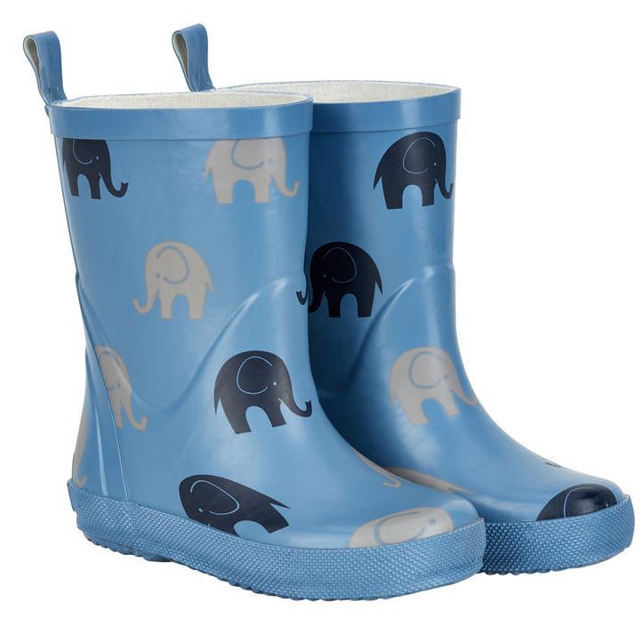 Cizme din cauciuc natural pentru copii cu imprimeu dry blue elephant CeLaVi